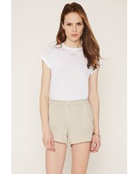 Forever 21 - Natural Contemporary Paper-bag Waist Linen Shorts - Lyst