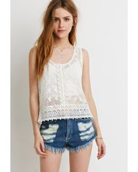 Forever 21 | Natural Embroidered Crochet-paneled Top | Lyst