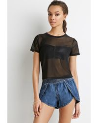 Forever 21 - Blue Denim Tulip-front Shorts - Lyst