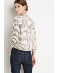 Forever 21 - Natural Contemporary Tie-front Striped Shirt - Lyst
