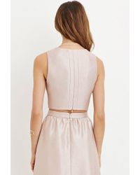 Forever 21 Pink Contemporary Sheeny Crop Top