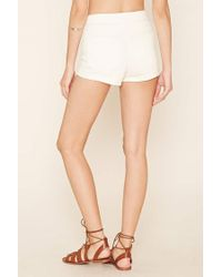 Forever 21 - Natural Cuffed Denim Shorts - Lyst
