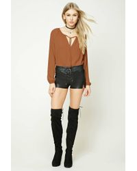 Forever 21 | Brown Tie-front Top | Lyst