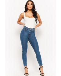 Forever 21 - Blue High-waist Skinny Jeans - Lyst