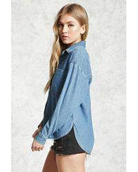 Forever 21 - Blue Dolphin-hem Denim Shirt - Lyst