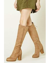 Forever 21 | Brown Lace-up Faux Suede Boots | Lyst
