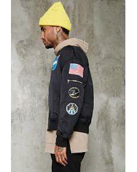 Forever 21 Black Nasa Patched Bomber Jacket for men