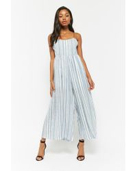 Forever 21 Blue Women's Check Cami Wide-leg Jumpsuit