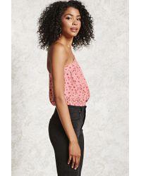 Forever 21 Pink Floral One-shoulder Top
