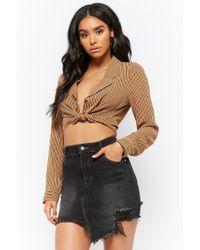 Forever 21 - Black Distressed Asymmetrical Denim Mini Skirt - Lyst