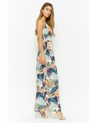 Forever 21 White Nature Print Cutout Maxi Dress