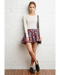 Forever 21 - Blue Pleated Floral Skirt - Lyst