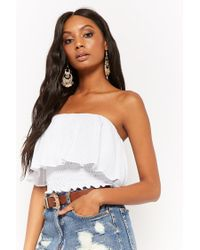 Forever 21 - White Flounce Tube Crop Top - Lyst