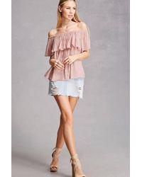 Forever 21 Pink Gauze Off-the-shoulder Top