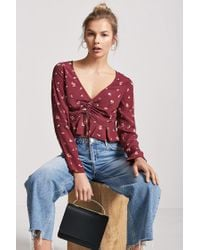 Forever 21 - Red Floral Ruched Top - Lyst