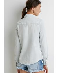 Forever 21 Blue Western Chambray Shirt