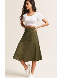 Forever 21 Green Belted Button-front Skirt