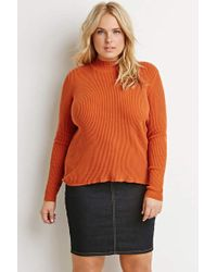 Forever 21 - Orange Plus Size Ribbed Mock Neck Sweater - Lyst