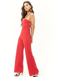 660609aa2c4a Forever 21 Lace-up Back Jumpsuit in Red - Lyst