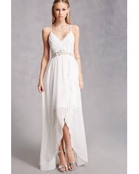 Forever 21 White Soieblu Chiffon High-low Dress