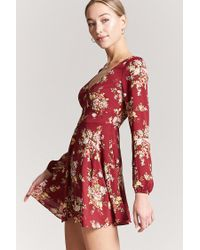 Forever 21 - Red Floral Woven Mini Dress - Lyst