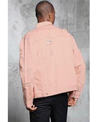 Forever 21 | Pink Distressed Denim Jacket for Men | Lyst