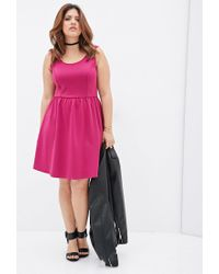 Forever 21 | Pink Fit & Flare Scuba Knit Dress | Lyst