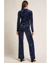 Forever 21 - Blue Velvet Blazer And Palazzo Pants Set - Lyst
