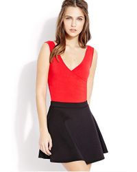 Forever 21 - Red Ruched Surplice Bodysuit - Lyst