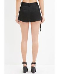 Forever 21 Black Women's Fringed Faux Suede Shorts