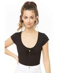 Forever 21 Black Women's Ribbed Knit Self-tie Top