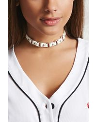 Forever 21 - Multicolor Women's Studded Faux Leather Choker Necklace - Lyst