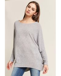 Forever 21 - Gray Marled Dolman-sleeve High-low Top - Lyst