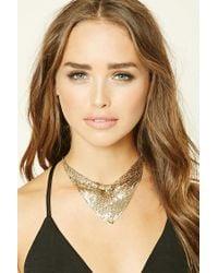 Forever 21 - Metallic Draped Triangle Bib Necklace - Lyst