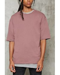 Forever 21 - Pink French Terry Knit Tee for Men - Lyst