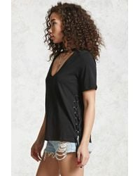 Forever 21 Black Laced-side Choker Neck Tee