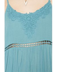 Forever 21 - Blue Crochet Gauze Cami Dress - Lyst