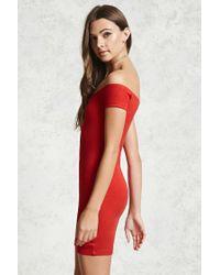 Forever 21 Red Ribbed Off-the-shoulder Dress