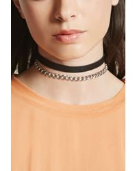 Forever 21 - Multicolor Chain Faux Leather Choker Set - Lyst