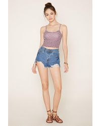 Forever 21 Blue Geo Print Cropped Cami
