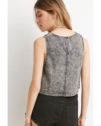 Forever 21 - Gray Mineral Wash Crop Top - Lyst
