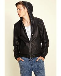 Forever 21 - Black Hooded Faux Leather Jacket You've Been Added To The Waitlist for Men - Lyst