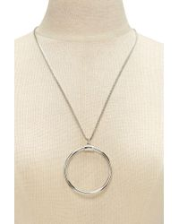 Forever 21 - Metallic Circle Pendant Necklace - Lyst