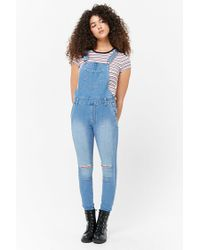 Forever 21 - Blue Distressed Denim Dungarees - Lyst