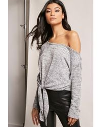 049200d9a59e3 Lyst - Forever 21 Marled Off-the-shoulder Top in Gray
