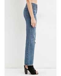 Forever 21 Blue Distressed Boyfriend Jeans