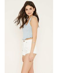 Forever 21 - Blue Ribbed Knit Crop Top - Lyst