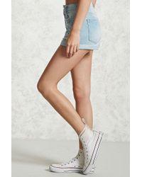 Forever 21 Blue Sequins & Pearls Denim Shorts , Denim
