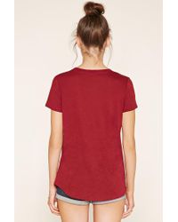Forever 21 - Red Burnout Knit Pocket Tee - Lyst