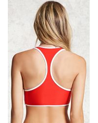 Forever 21 - Red Contrast Trim Bikini Top - Lyst